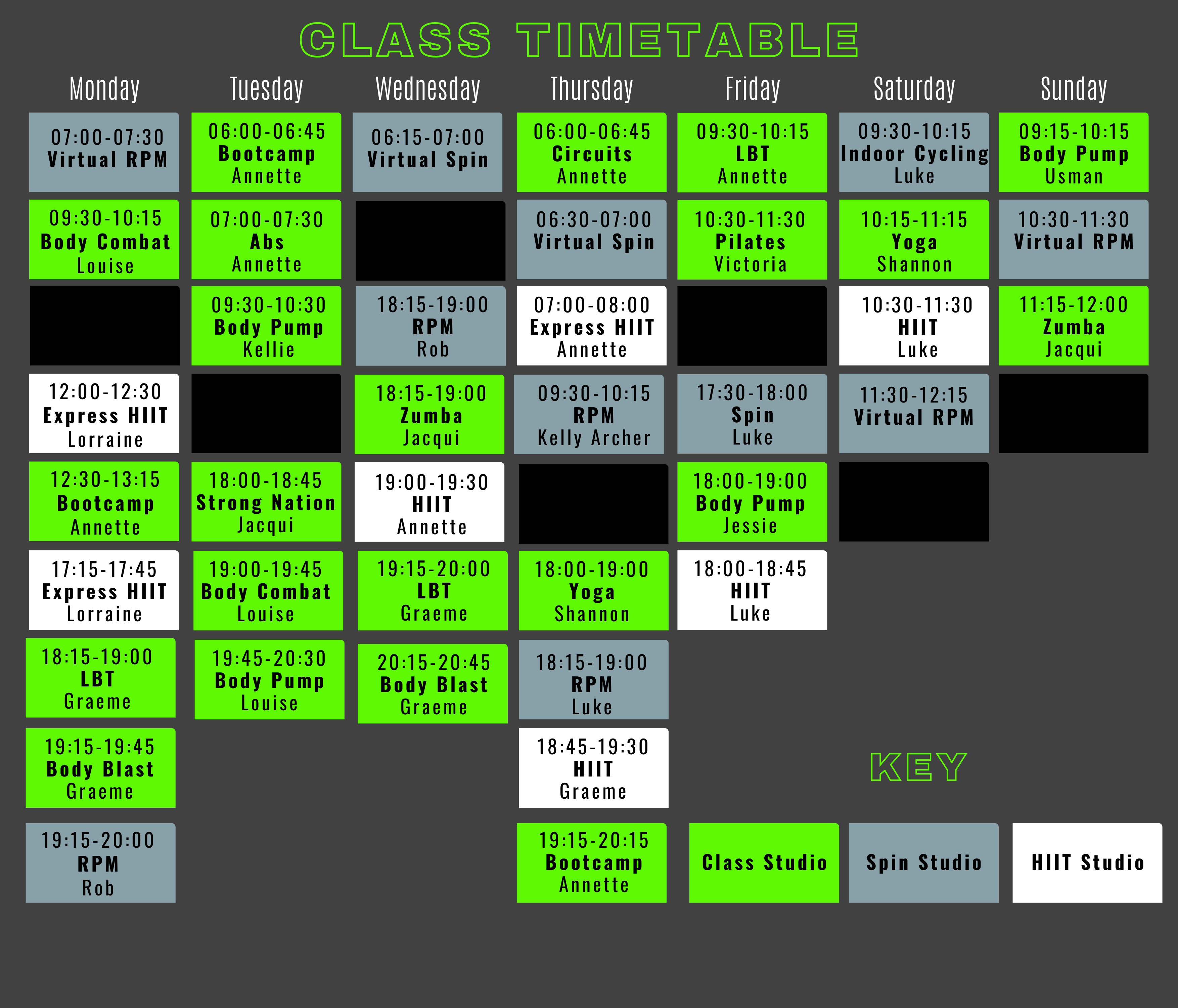 May 2021 Class Timetable - HQ